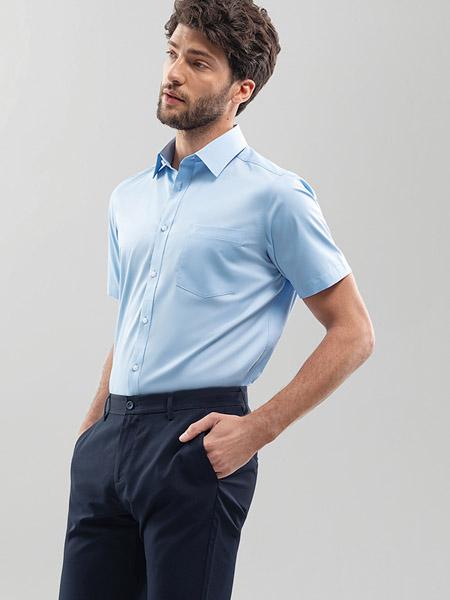 金利来男装品牌2020春夏翻领蓝色衬衫