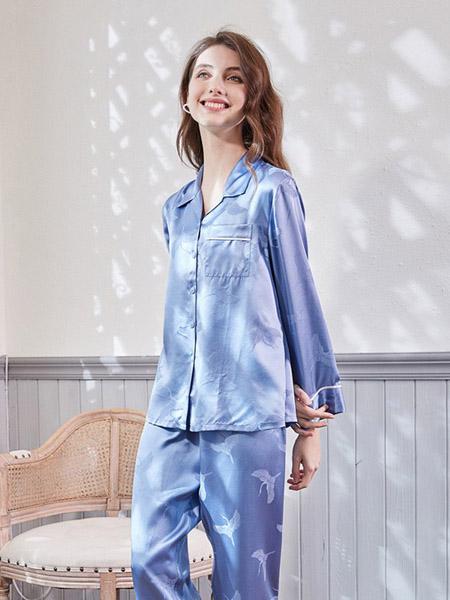 美标内衣品牌2020春夏翻领蓝色睡衣套装