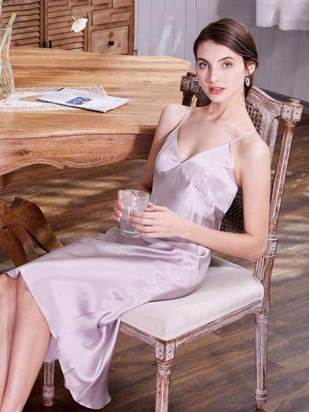 美标内衣品牌2020春夏吊带紫色睡裙