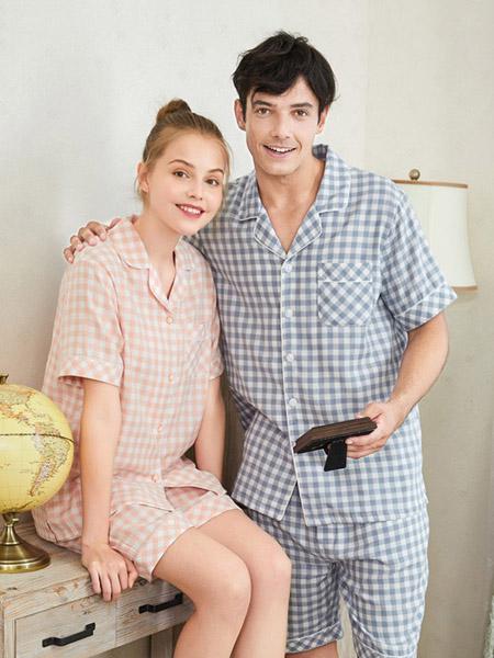 美标内衣品牌2020春夏格纹睡衣家居服套装男女同款