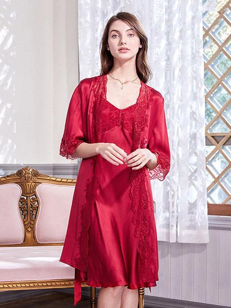 美标内衣品牌2020春夏蕾丝 冰丝红色外套吊带睡裙