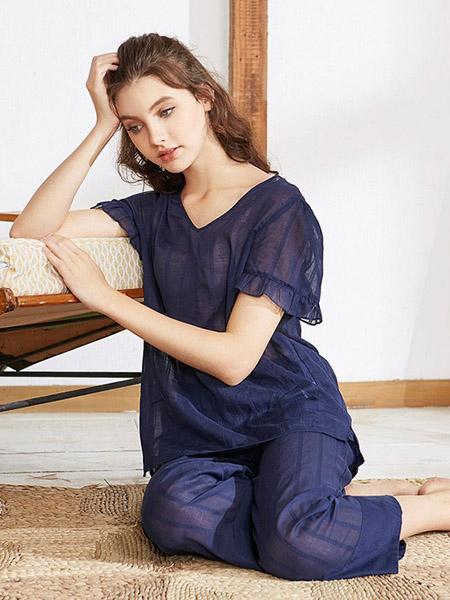 美标内衣品牌2020春夏深蓝色家居服