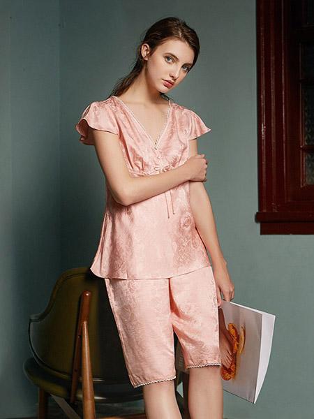 美标内衣品牌2020春夏冰丝浅粉色睡衣套装