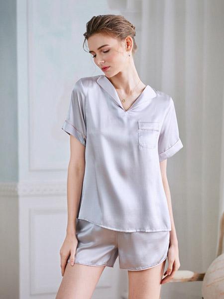 美标内衣品牌2020春夏翻领灰蓝色睡衣套装