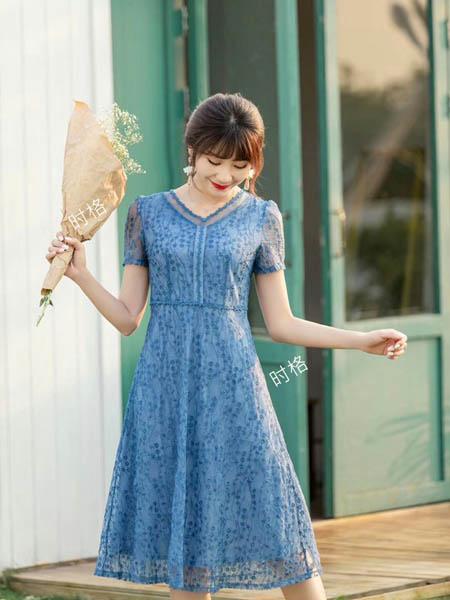 时格女装品牌2020春夏淡雅成熟女性连衣裙
