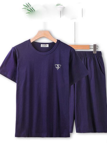 ARNOLD PALMER花雨伞休闲品牌2020春夏紫黑色家居服套装