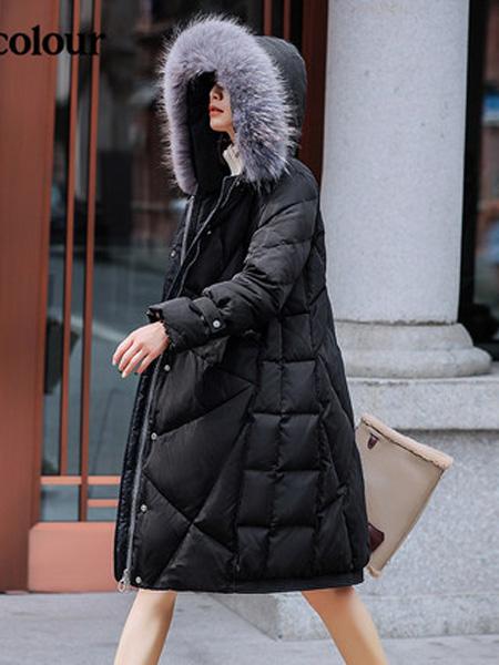 欧珂OLDCOLOUR女装品牌2020秋冬黑色长羽绒服