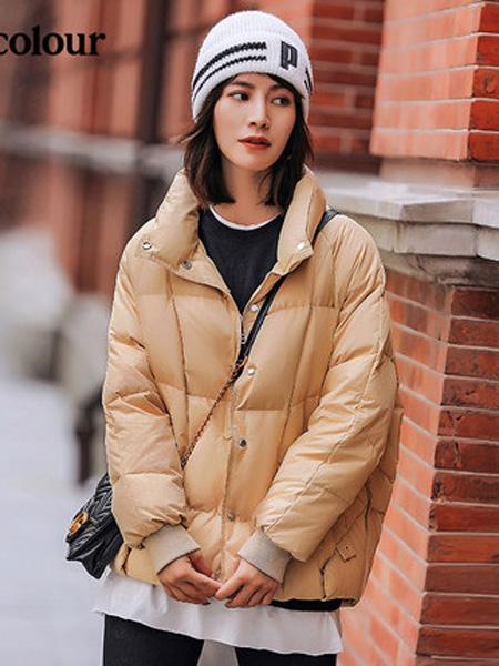 欧珂OLDCOLOUR女装品牌2020秋冬短款羽绒服浅橙色