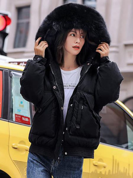 欧珂OLDCOLOUR女装品牌2020秋冬黑色短羽绒服