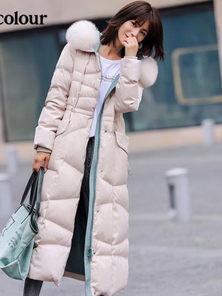 欧珂OLDCOLOUR女装品牌2020秋冬米色长羽绒服