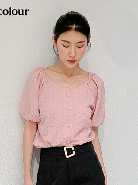欧珂OLDCOLOUR女装品牌2020春夏短袖衬衫粉色
