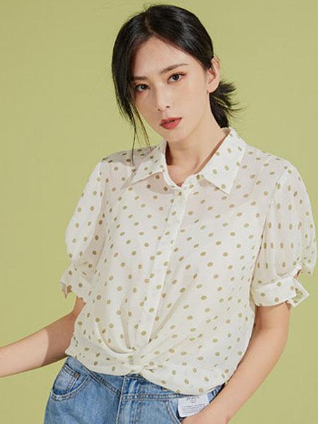 欧珂OLDCOLOUR女装品牌2020春夏短袖小波点衬衫女