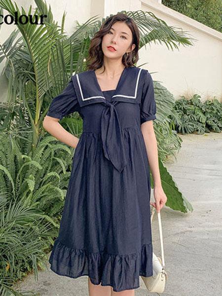 欧珂OLDCOLOUR女装品牌2020春夏夏装连衣裙时尚泡泡袖减龄海军风裙子洋气简约气质宽松