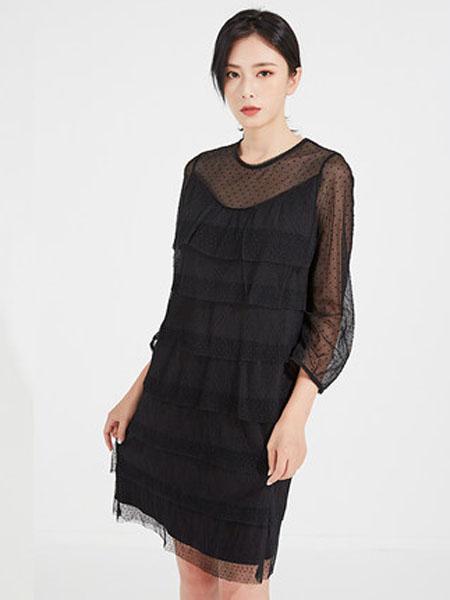 欧珂OLDCOLOUR女装品牌2020春夏长袖连衣裙雪纺纱网