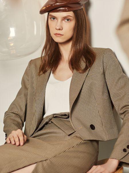 迪卡轩女装品牌2020秋季格纹西装套装