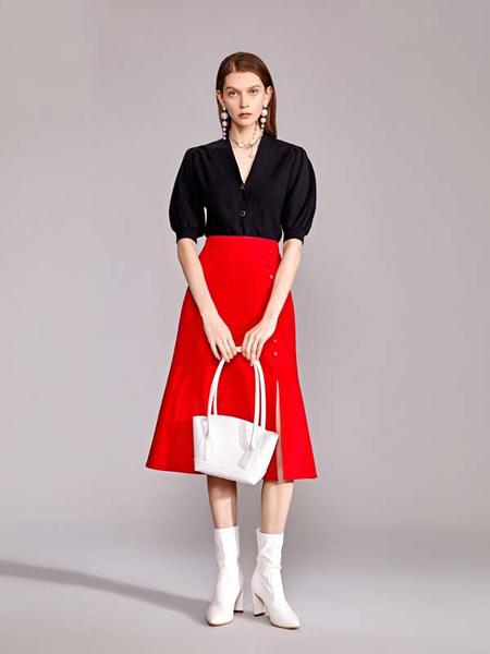 迪笛欧女装品牌2020秋季泡泡袖黑色上衣大红色半裙