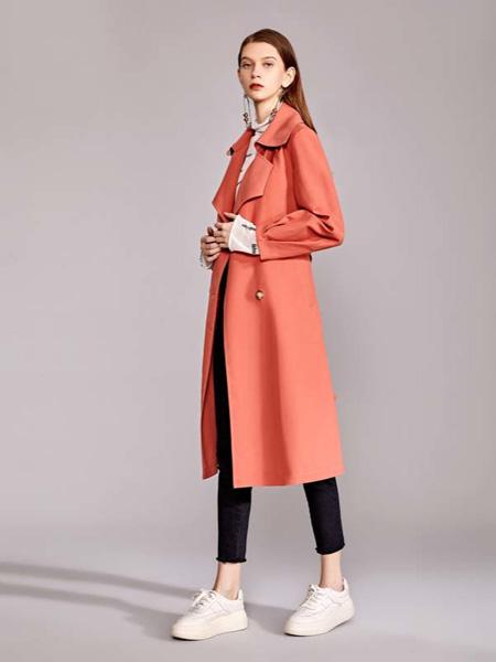 迪笛欧女装品牌2020秋季橙色西装外套中长款