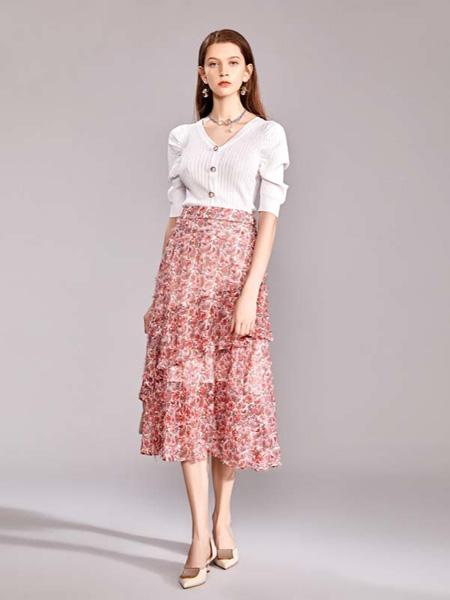 迪笛欧女装品牌2020秋季V领针织衫红色碎花雪纺半裙