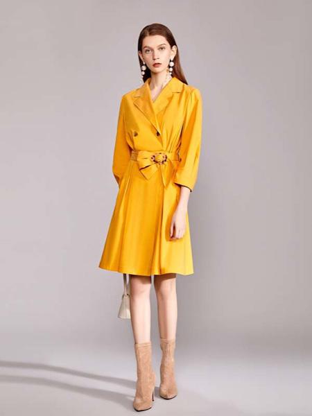 迪笛欧女装品牌2020秋季收腰黄色连衣裙