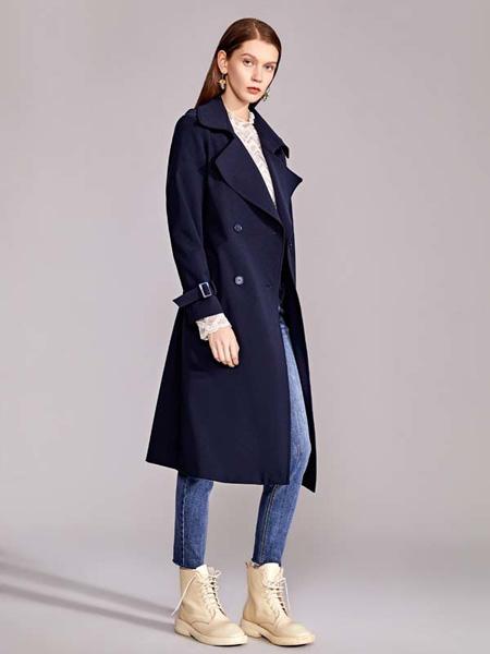 迪笛欧女装品牌2020秋季藏蓝色西装中长款外套风衣