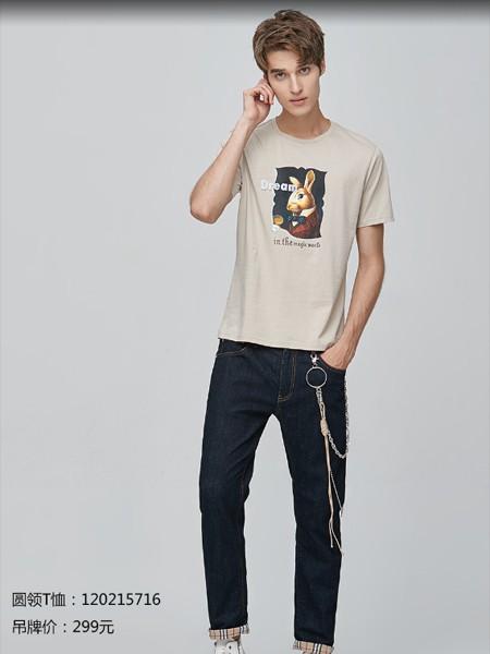 空间男装品牌2020春夏圆领T恤兔子