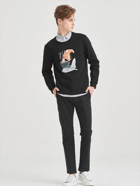 空间男装品牌2020春黑色卫衣长裤