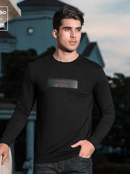 爱登堡·英伦新贵时尚系列男装品牌2020春男装卫衣男青年时尚印花修身圆领套头上衣T恤男潮