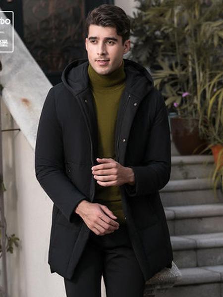 爱登堡·英伦新贵时尚系列男装品牌羽绒服男时尚连帽中长款加厚保暖羽绒棉袄外套男潮