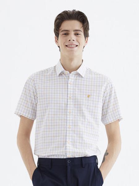 雅戈尔男装品牌2020春夏新款休闲官方男士格子短袖衬衫