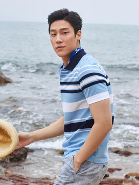 雅戈尔男装品牌2020春夏商务休闲纯棉条纹翻领POLO衫