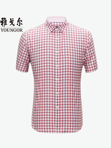 雅戈尔男装品牌2020春夏短袖衬衫夏季新款官方商务休闲弹力黄色薄款格子衬衣男