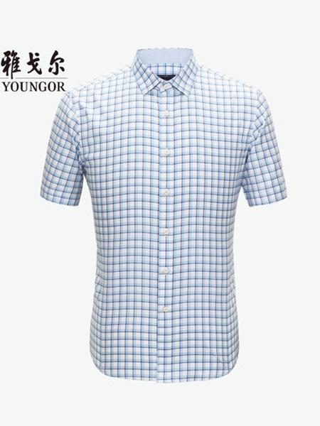 2020春夏短袖衬衫夏季新款官方商务休闲弹力黄色薄款格子衬衣男