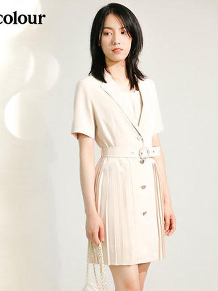 欧珂OLDCOLOUR女装品牌2020春夏连衣裙纯色收腰短款