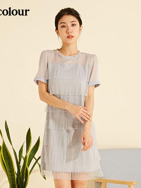 欧珂OLDCOLOUR女装品牌2020春夏短袖连衣裙圆领百褶裙