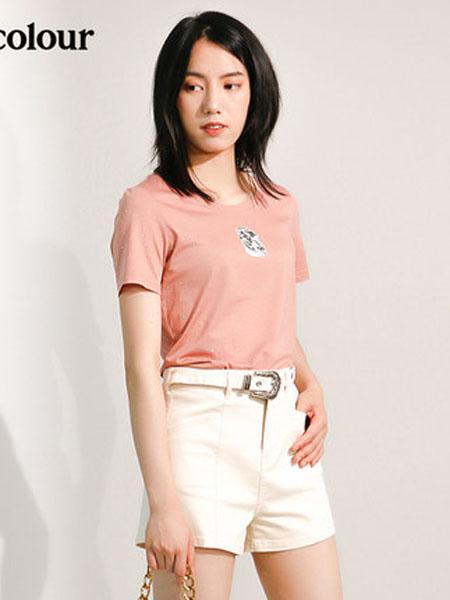欧珂OLDCOLOUR女装品牌2020春夏短袖T恤粉色圆领