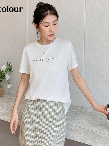 欧珂OLDCOLOUR女装品牌2020春夏短袖T恤女圆领纯色字母