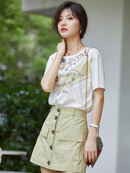 风笛女装品牌2020春夏圆领白色字母T恤