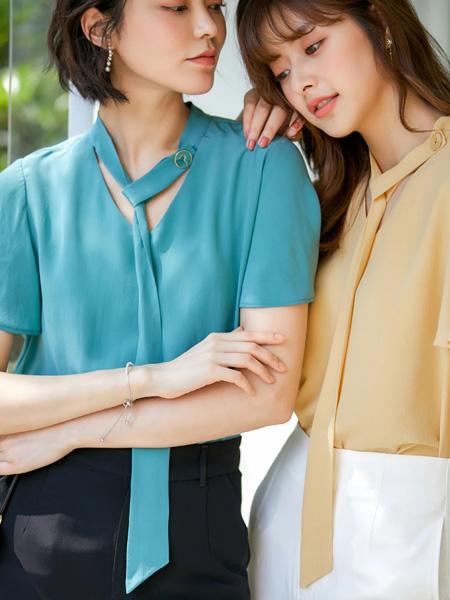 风笛女装品牌2020春夏蓝色雪纺衫V领