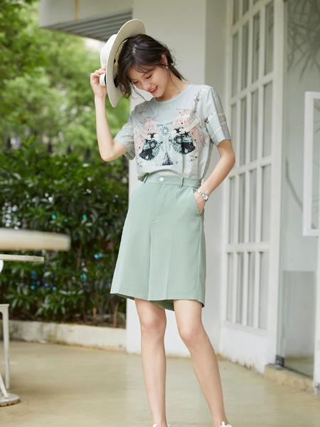 风笛女装品牌2020春夏灰色T恤绿色半裙