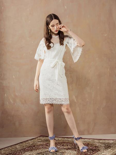 MaxRienY国际品牌2020春夏网纱连衣裙五分袖蕾丝包臀A字中长裙女洋气白色裙子