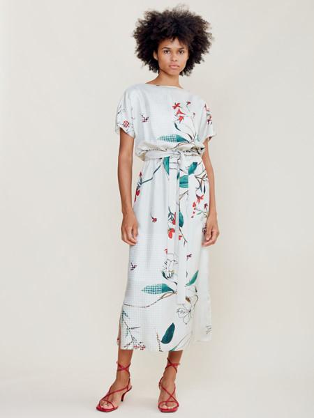 Natan国际品牌2020春夏雪纺收腰连衣裙