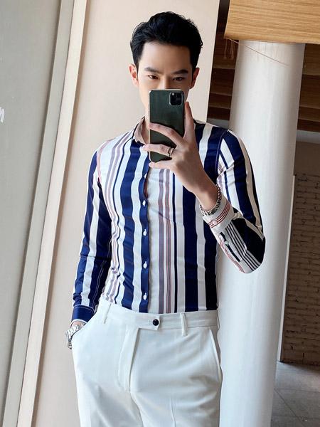 PLOVER(啄木鸟)男装品牌2020春夏竖纹藏蓝色衬衫