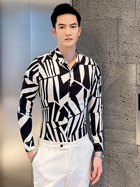 PLOVER(啄木鸟)男装品牌2020春夏黑白印花翻领衬衫