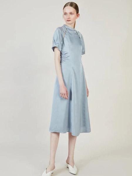 Blancore国际品牌2020春夏修身知性丝绸连衣裙