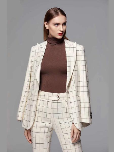 乔奈卡女装品牌彩38平台2020秋季大格纹白色西装套装