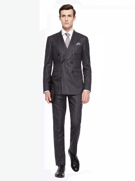 乔奈卡男装品牌2020秋季竖纹深灰色西装套装