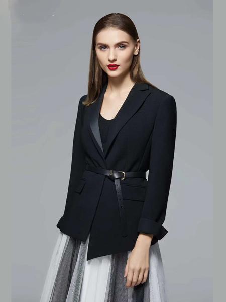 乔奈卡女装品牌2020秋季皮带收腰黑色西装外套