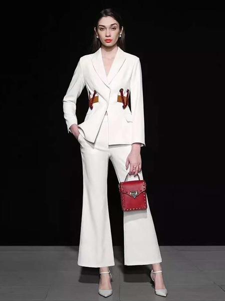 乔奈卡女装品牌2020秋季白色西装套装阔腿裤