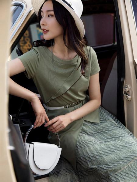 莱芙.艾迪儿女装品牌2020春夏青色上衣T恤