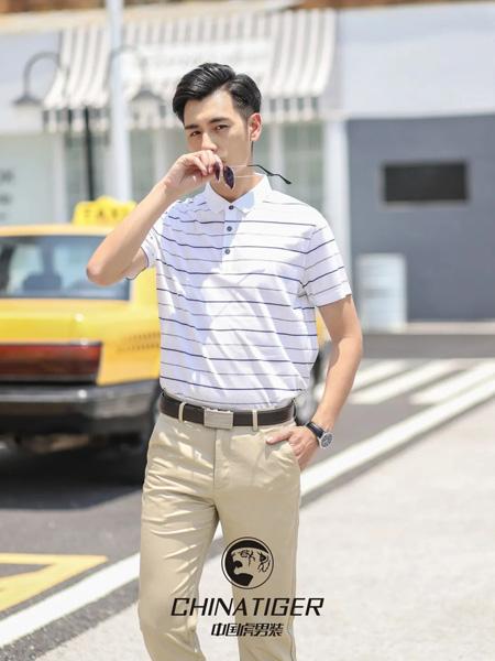 中国虎男装品牌2020春夏翻领黑色横纹白色T恤